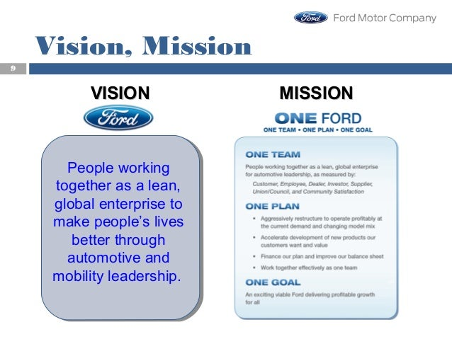 vision mission of ford motor company