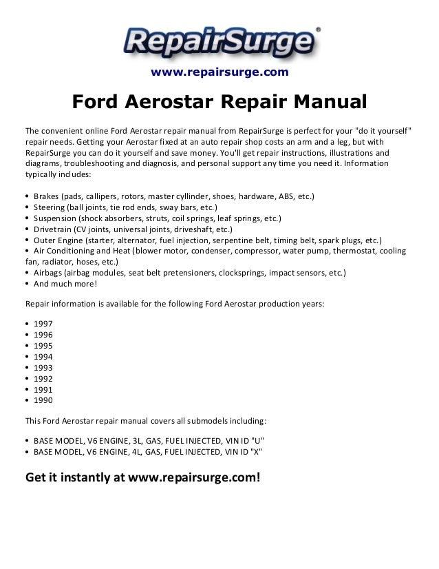 ford aerostar repair manual 1990 1997 rh slideshare net 1992 Aerostar Cargo 1986 Ford Aerostar Van