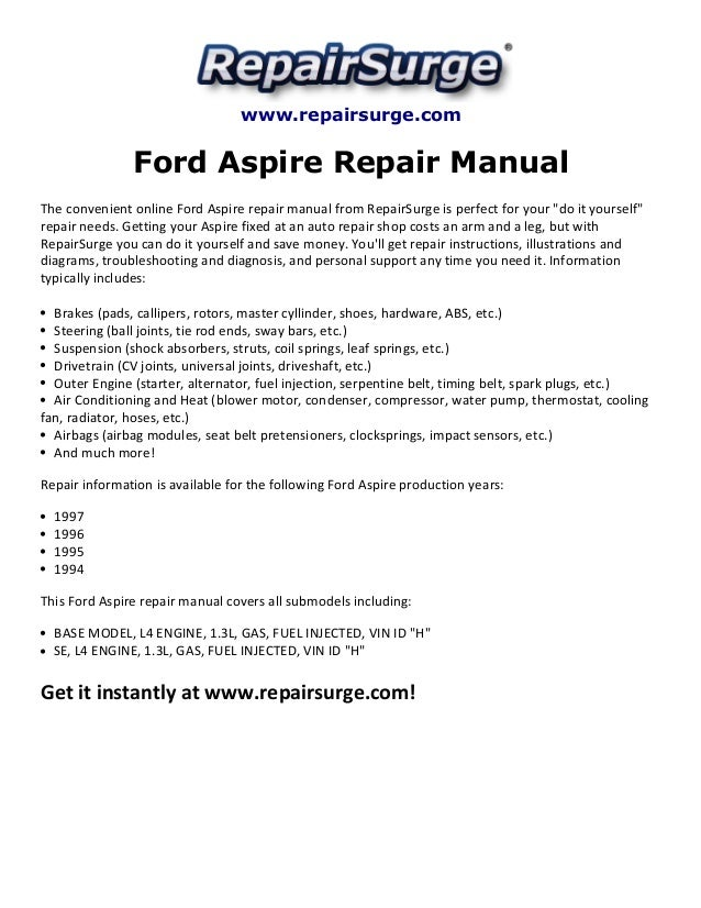 ford aspire repair manual 1994 1997 rh slideshare net Electric Fan Wiring Diagram 1995 Ford Aspire Hatchback 1994 Ford Aspire Spindle Arm Picture