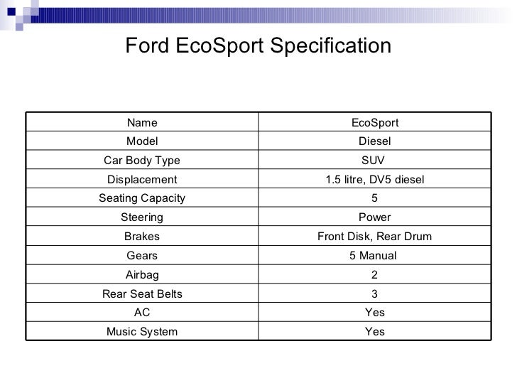 Ford Ecosport Specification