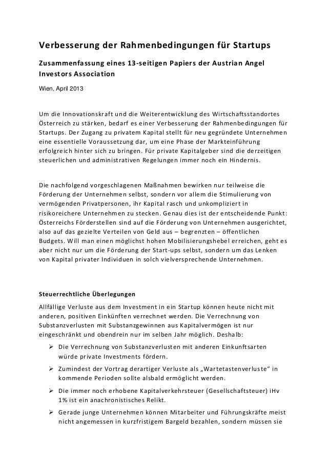 Verbesserung der Rahmenbedingungen für StartupsZusammenfassung eines 13-seitigen Papiers der Austrian AngelInvestors Assoc...