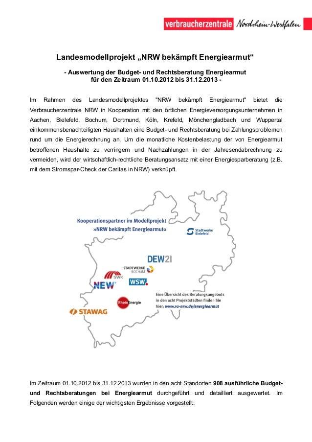 """Landesmodellprojekt """"NRW bekämpft Energiearmut"""" - Auswertung der Budget- und Rechtsberatung Energiearmut für den Zeitraum ..."""