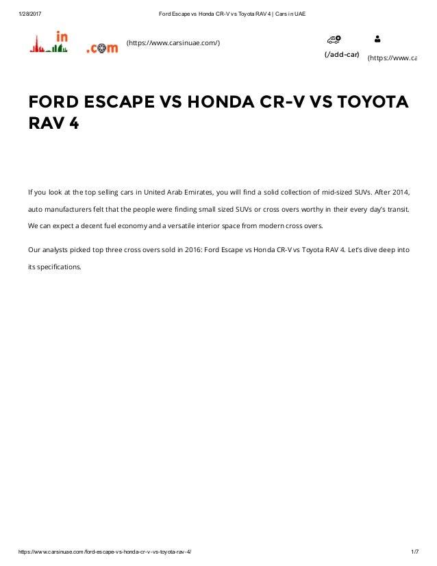 FORD ESCAPE VS HONDA CRV VS TOYOTA RAV 4
