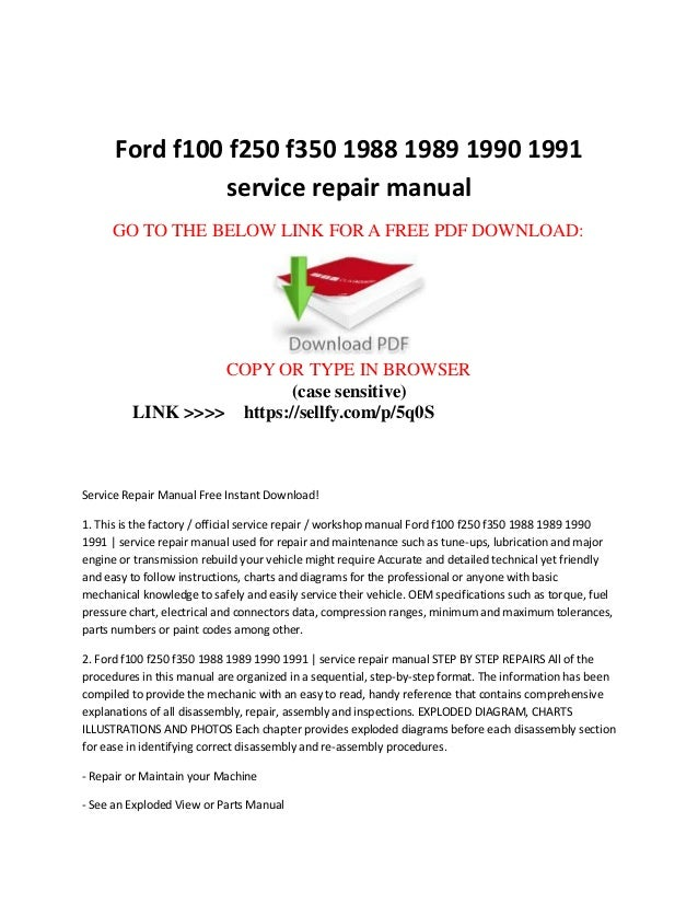 ford f100 f150 f250 f350 1988 1989 1990 1991 service repair manual rh slideshare net 2003 ford f150 lariat owners manual free 2000 ford f150 lariat owners manual online