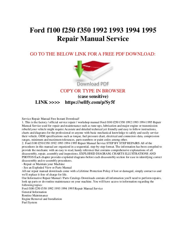 ford f100 f150 f250 f350 1992 1993 1994 1995 repair manual service rh slideshare net 1972 ford f100 repair manual pdf ford f100 repair manual free download