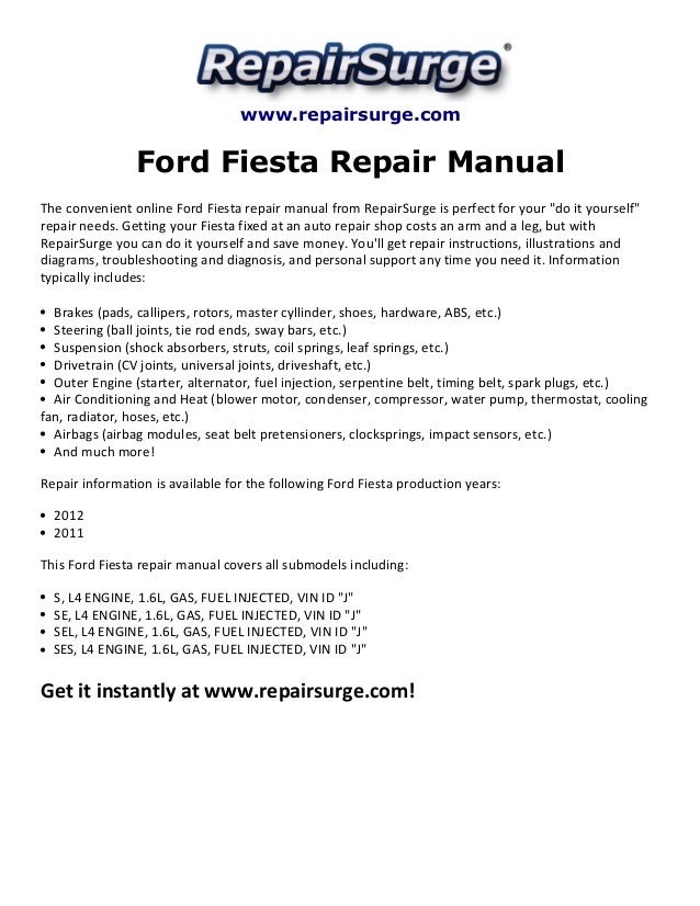 ford fiesta repair manual 2011 2012. Black Bedroom Furniture Sets. Home Design Ideas