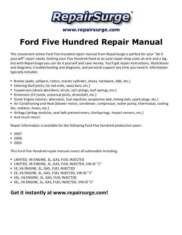Ford Five Hundred Repair Manual 20052007rhslideshare: Ford 500 Engine Diagram At Elf-jo.com