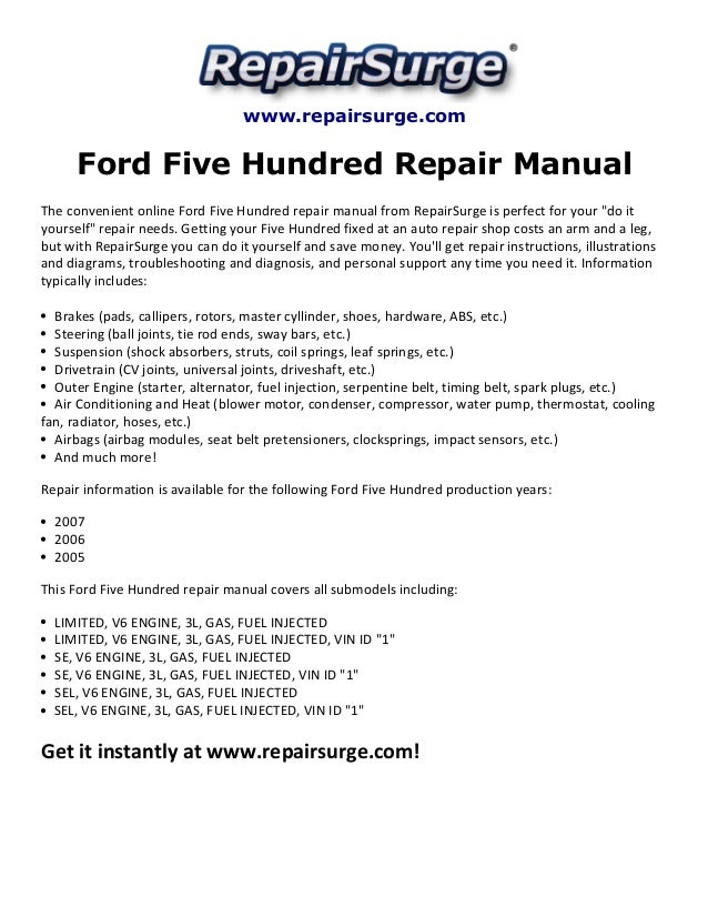 ford five hundred repair manual 2005 2007 rh slideshare net 2007 Ford Fusion Owners Manual 1995 Ford Manual