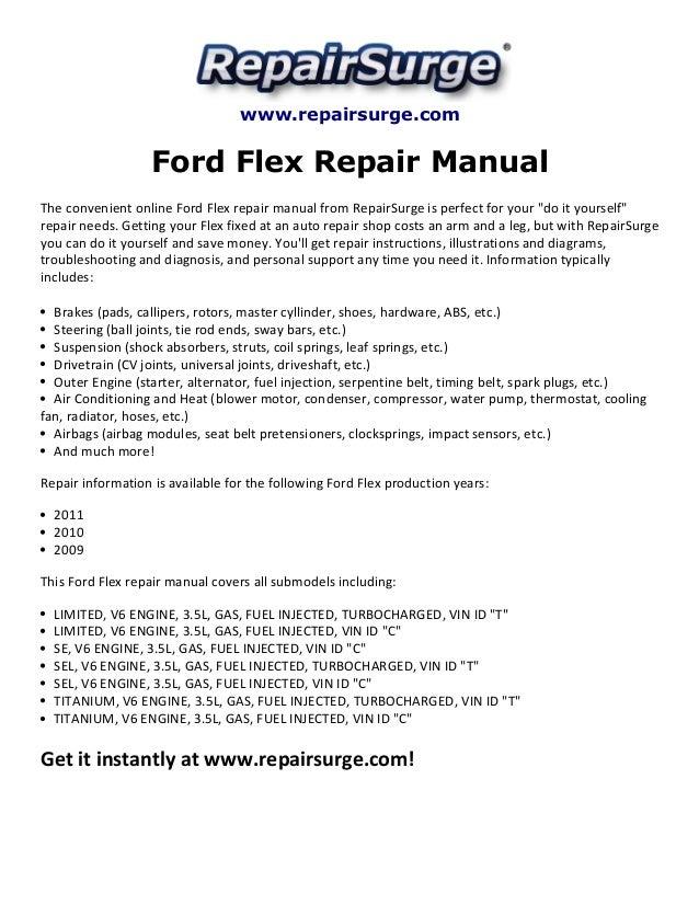 ford flex repair manual 2009 2011 rh slideshare net 2017 Ford Flex Interior 2009 ford flex repair manual pdf