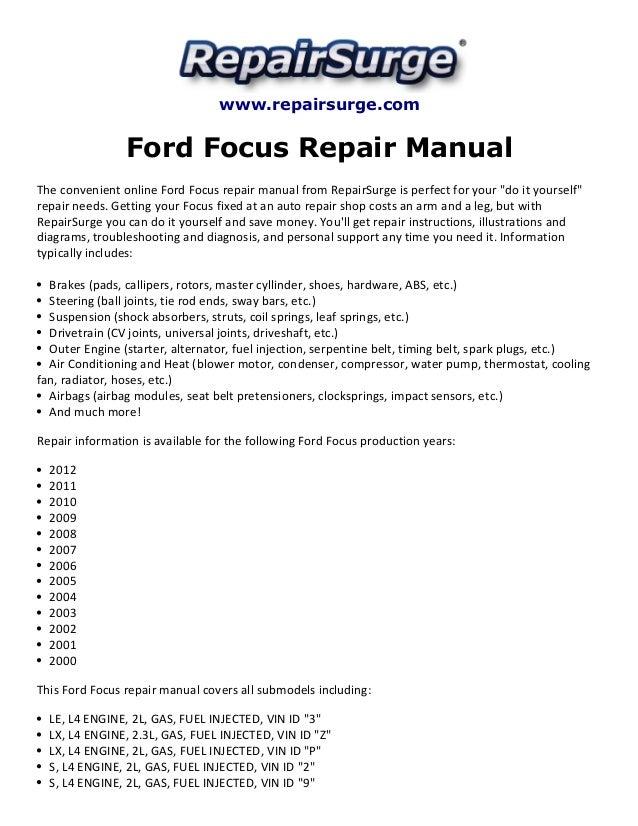 ford focus repair manual 2000 2012 rh slideshare net 2003 ford focus repair manual pdf download 2003 ford focus zx3 repair manual
