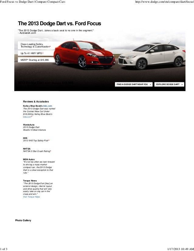 Ford Focus vs Dodge Dart   Compare Compact Cars                                                  http://www.dodge.com/en/c...