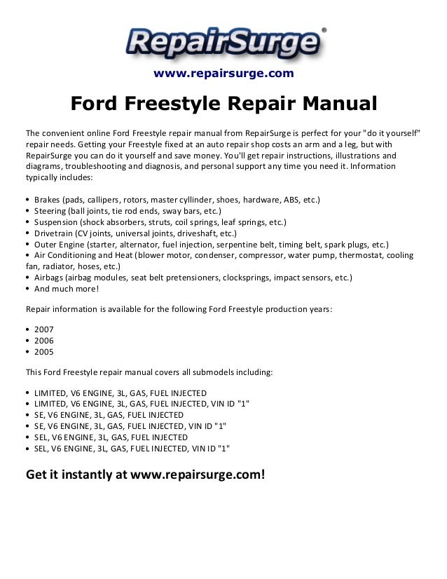 Ford Freestyle Repair Manual 20052007rhslideshare: Ford Freestyle 3 0 Engine Diagram At Gmaili.net