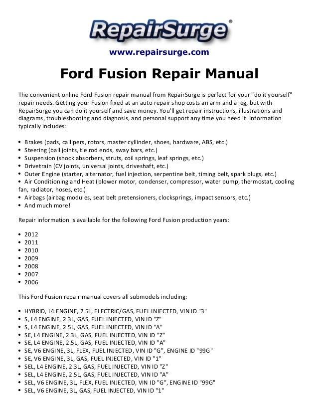 ord fusion repair manual 2006 2012 rh slideshare net 2010 ford fusion repair manual 2010 ford fusion service manual