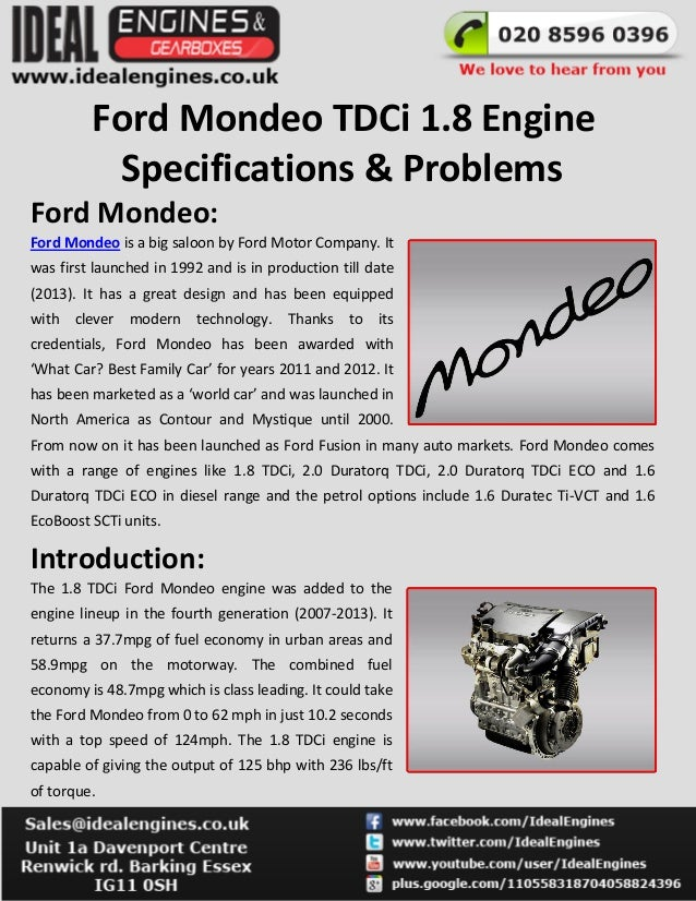 Ford Mondeo Tdci 18 Engine Specifications Problems Is A Big: Ford 1 8 Tdci Engine Diagram At Johnprice.co