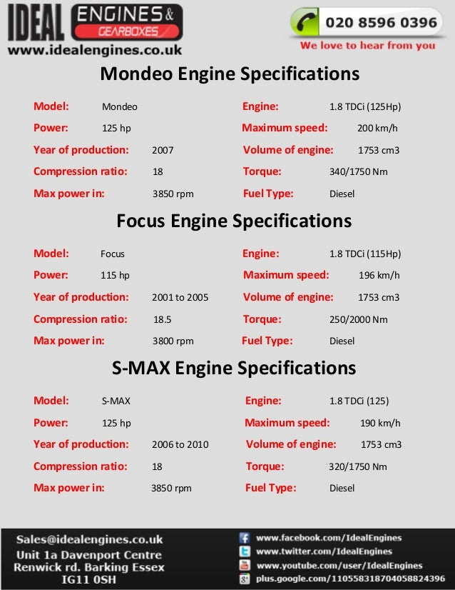 3 Mondeo Engine Specifications Model 18 Tdci: Ford 1 8 Tdci Engine Diagram At Johnprice.co