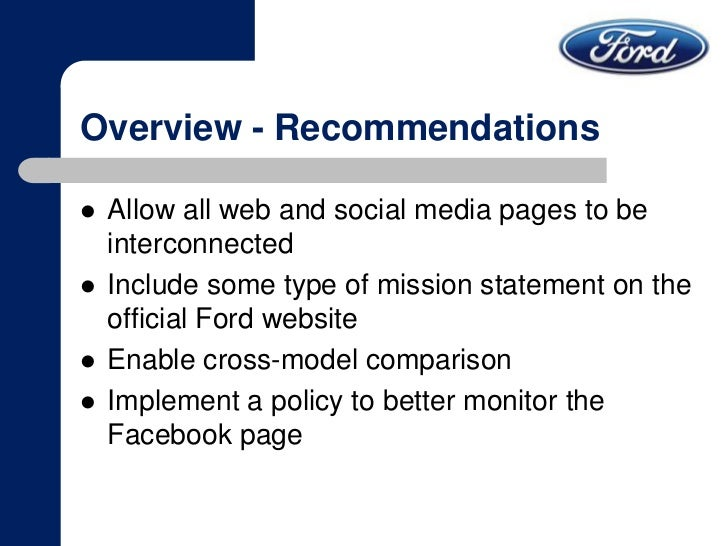 Ford motor company social media for Ford motor company mission statement