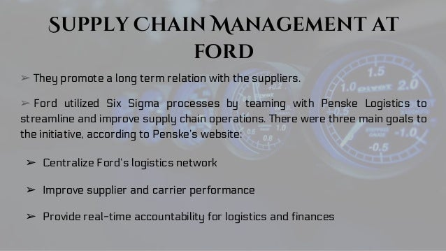 supply chain management in ford motor company Operations management  a big challenge in today's world of far-flung, complex  supply chains is the limited  the method was implemented successfully at ford  motor company — an effort we described in this hbr article.