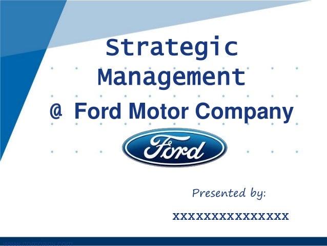 Strategic Management Of Us Ford Motors Corporation