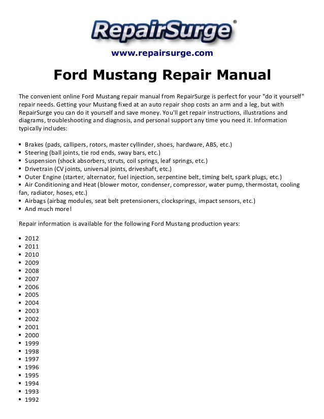 ford mustang repair manual 1990 2012 rh slideshare net 2003 Mustang Owners Manual PDF 2001 Ford Mustang Coupe Red