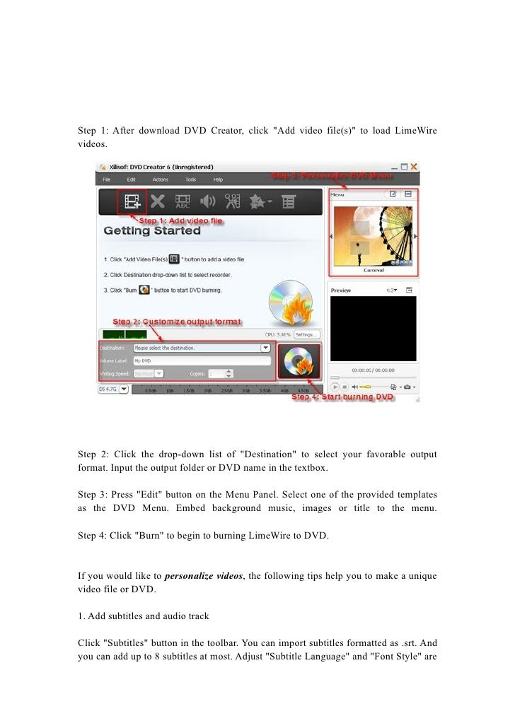 LimeWire to DVD, Burn LimeWire movie videos to DVD with DVD Creator