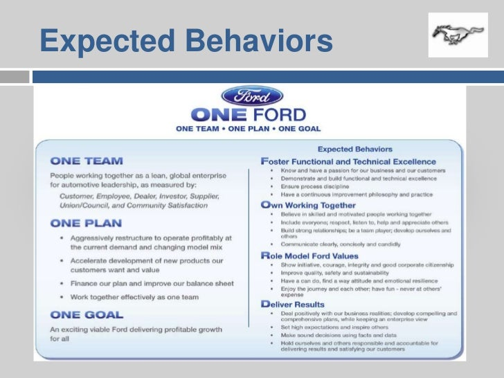 one ford strategy Alan mulally: at the heart of our culture is the one ford plan, which is essentially our vision for the organization and its mission and at the heart of the one ford plan is the phrase one team.