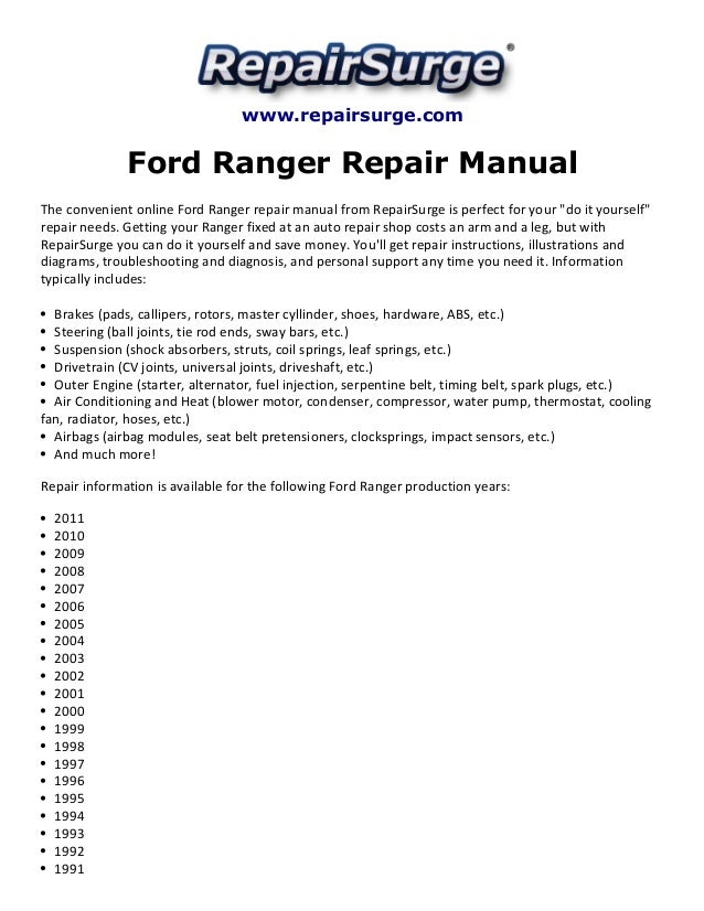 ford ranger repair manual 1990 2011 rh slideshare net 1993 ford ranger parts manual 1993 ford ranger repair manuals free online