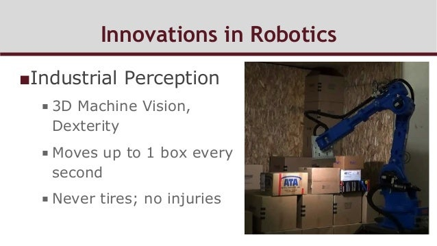 Innovations in Robotics ■Industrial Perception ■3D Machine Vision, Dexterity ■Moves up to 1 box every second ■Never ti...