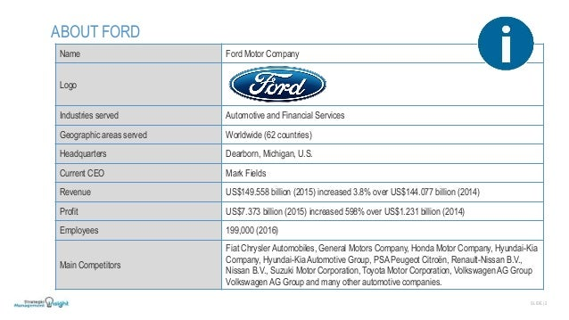 ford financial analysis The horizontal analysis for ford motor corporation will enable to exhibit the  changes of amounts in the corresponding financial statement items from 2010 to .
