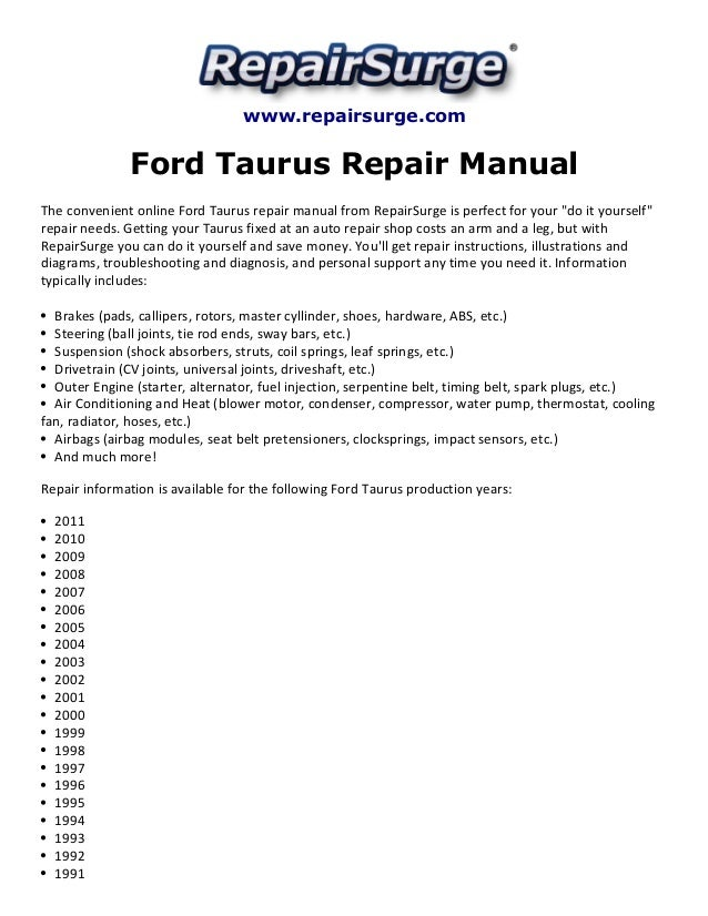 ford taurus repair manual 1990 2011 rh slideshare net Taurus SHO Interior 1995 Taurus SHO
