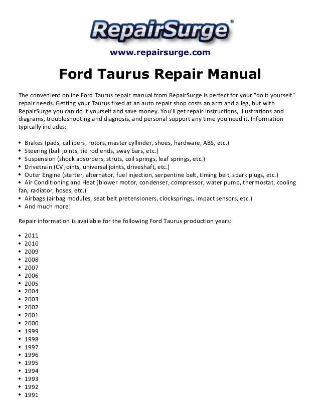 ford taurus repair manual 1990 2011 rh slideshare net 2003 Ford Taurus Troubleshooting Guide 2000 Ford Taurus Repair Manual PDF