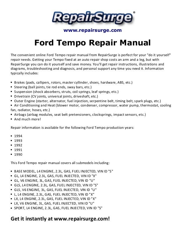 ford tempo repair manual 1990 1994 rh slideshare net 93 Ford Tempo AC 92 Ford Tempo Fuel Pump Not Working