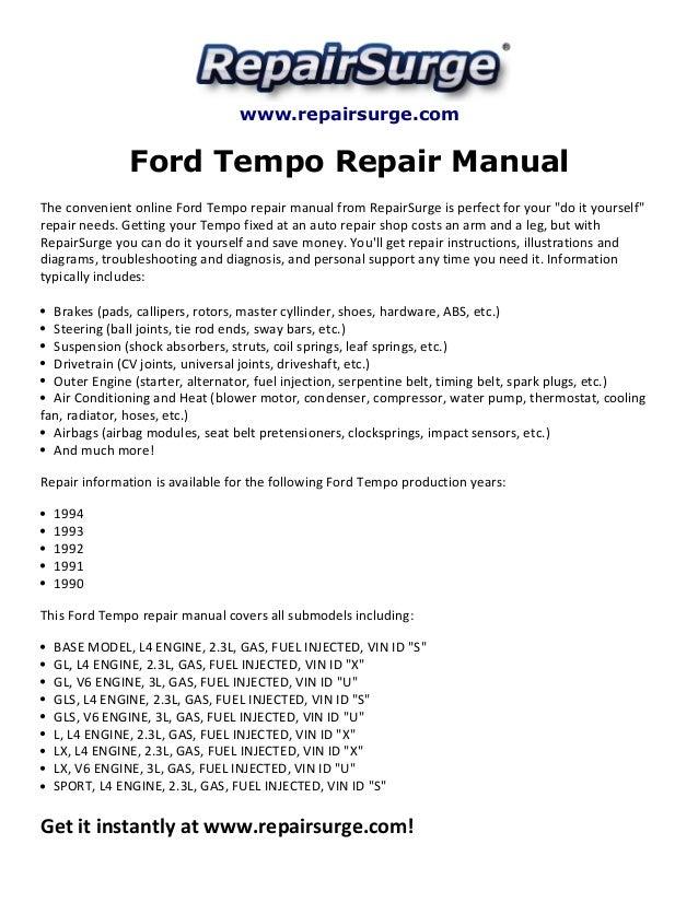 ford tempo repair manual 1990 1994 rh slideshare net 1990 Ford Tempo GL Headlight Assembly 1990 Ford Tempo GL Headlight Assembly