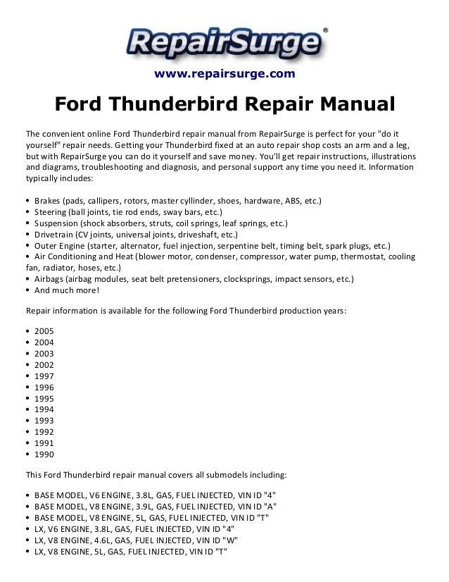 Ford Thunderbird Repair Manual 19902005rhslideshare: 2005 Ford Thunderbird Engine Diagram At Gmaili.net