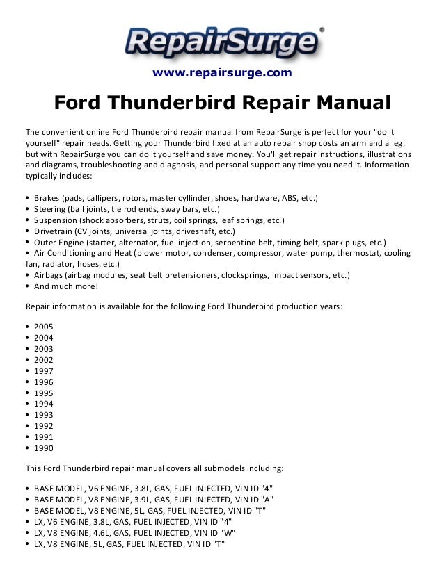 ford thunderbird repair manual 1990 2005 rh slideshare net 1997 Ford Thunderbird 1996 ford thunderbird service manual