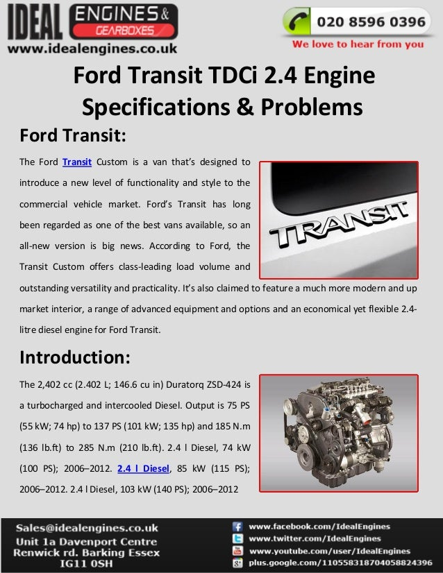 Ford Transit 2 4 Tdci Engine Specifications  U0026 Problems