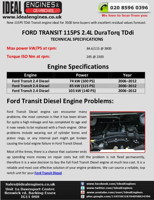 ford transit 2 4 tdci engine specifications problems. Black Bedroom Furniture Sets. Home Design Ideas