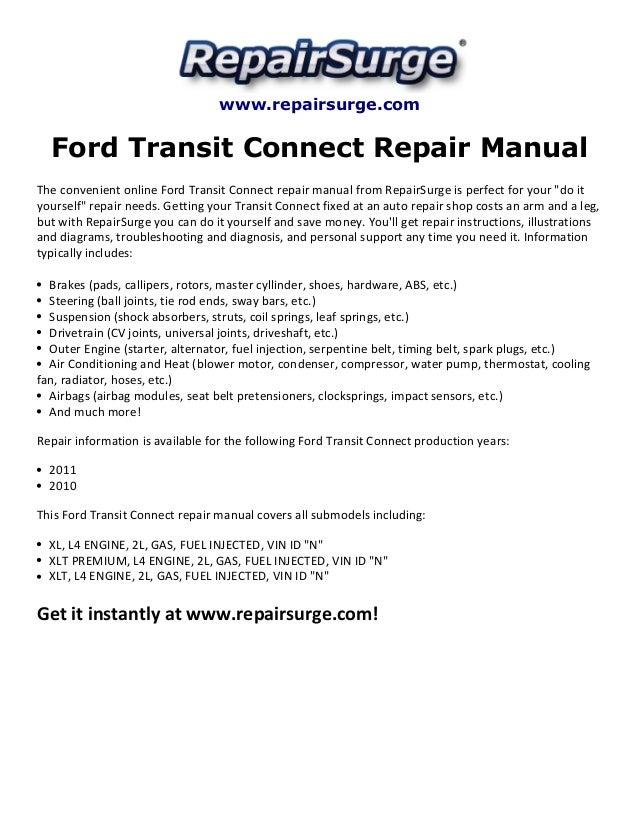 ford transit connect repair manual 2010 2011 rh slideshare net ford transit connect workshop manual ford connect repair manual