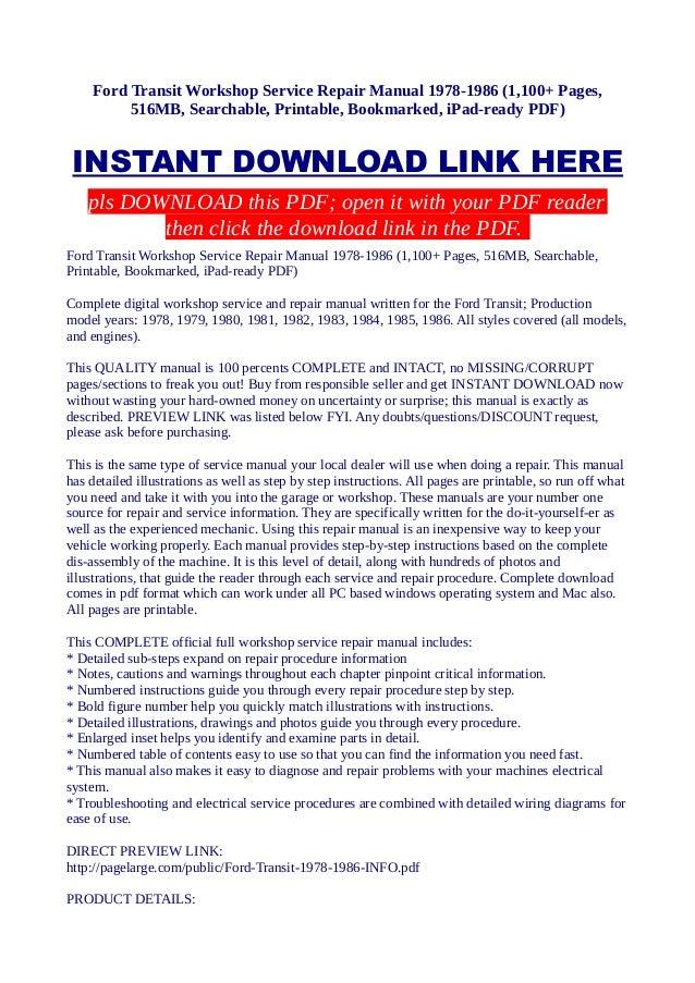 Ford Transit Workshop Service Repair Manual 1978 1986 1100 Pages €�