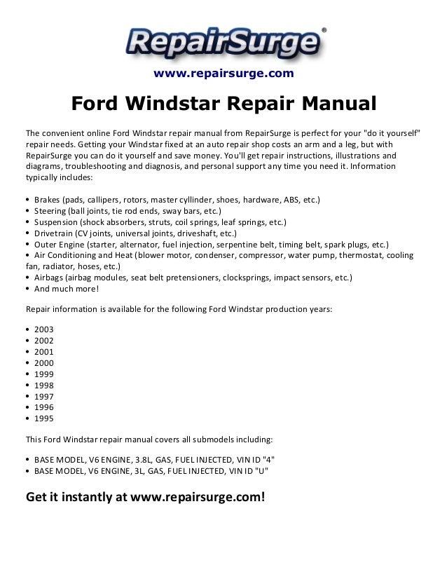 ford windstar repair manual 1995 2003 rh slideshare net 2000 Ford Windstar Fuse Diagram 1999 Ford Windstar Interior