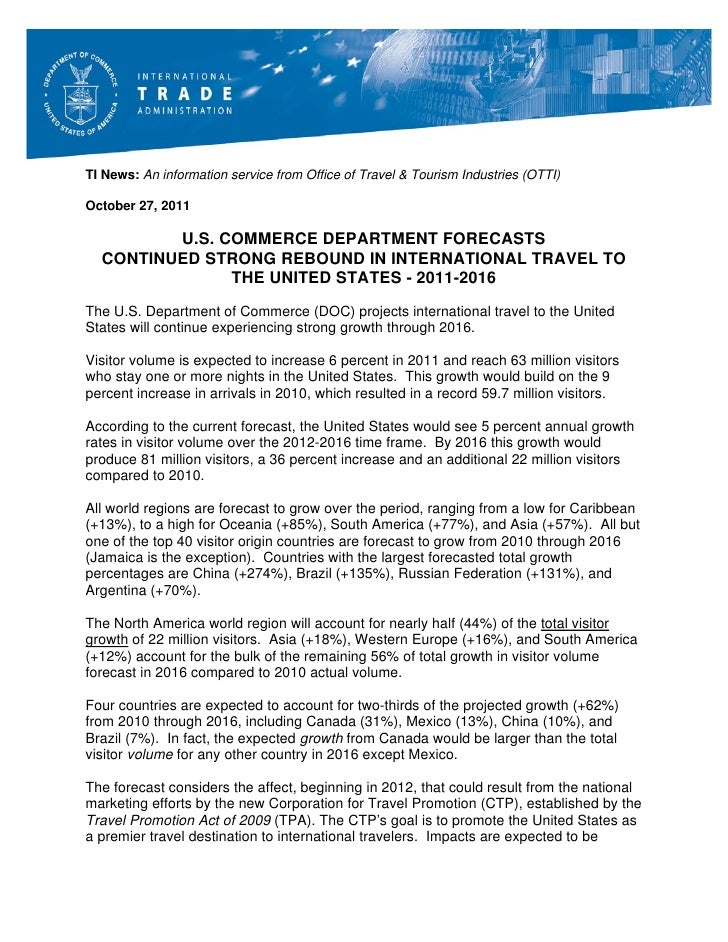 TI News: An information service from Office of Travel & Tourism Industries (OTTI)October 27, 2011         U.S. COMMERCE DE...