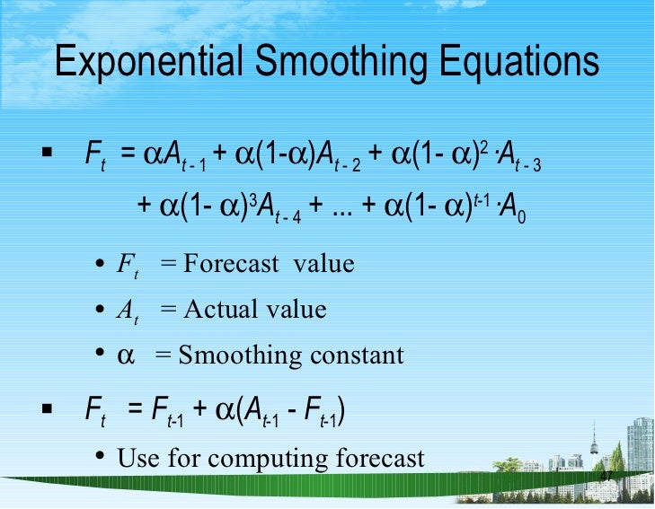 disadvantages of exponential smoothing Statistical forecasting workshop workshop contents day 1 • introduction to business forecasting  exponential smoothing 2 •• regression models for forecasting.