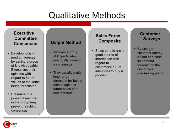 forecasting method This is an overview of some basic forecasting methods these basic forecasting methods are broken into two categories of approaches: quantitative and qualita.