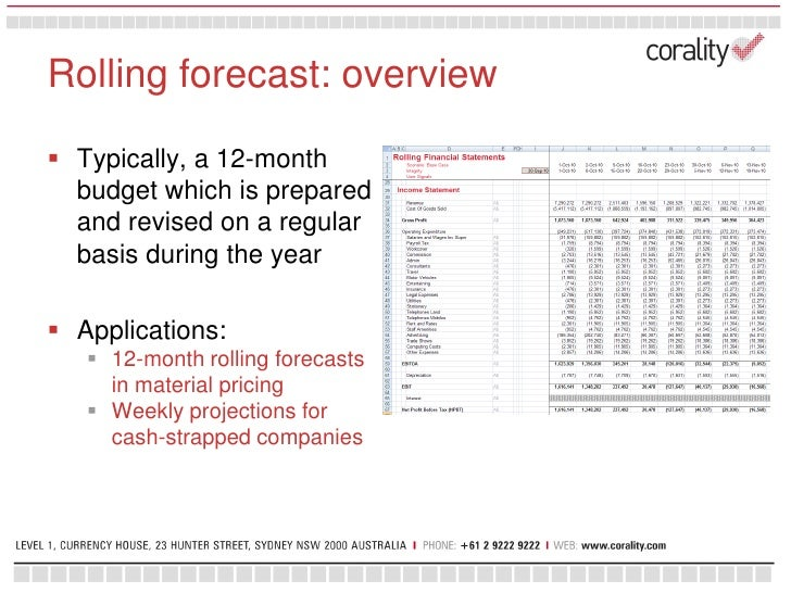 Corality - Forecasting techniques and financial modelling