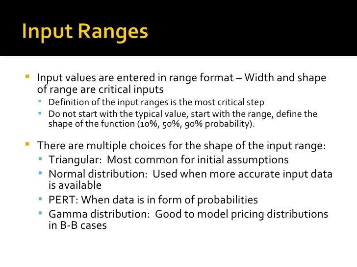 <ul><li>Input values are entered in range format – Width and shape of range are critical inputs </li></ul><ul><ul><li>Defi...