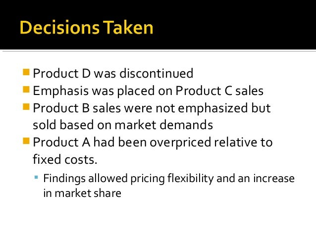  Product D was discontinued Emphasis was placed on Product C sales Product B sales were not emphasized but  sold based ...