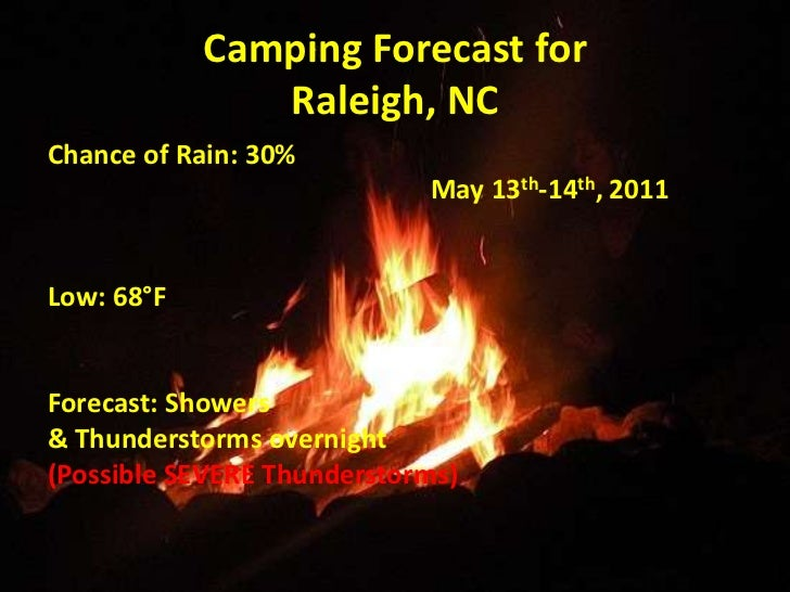 Camping Forecast forRaleigh, NC<br />Chance of Rain: 30%<br />                                                         May...