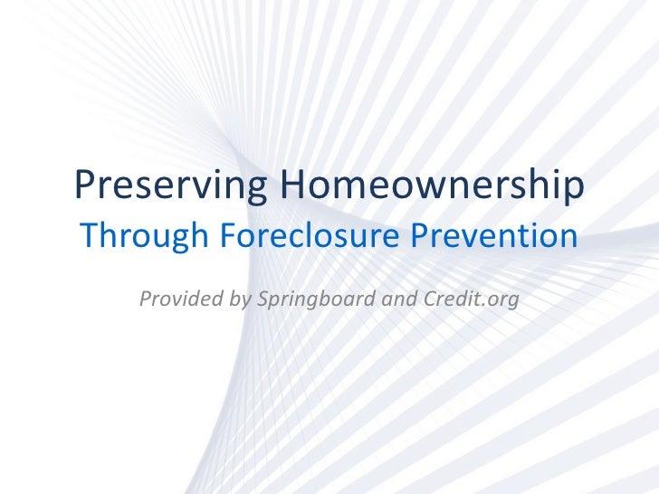 Foreclosure Prevention Course
