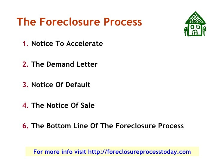 The Foreclosure Process 1. Notice To Accelerate  2. The Demand Letter  3. Notice Of Default  4. The Notice Of Sale  6. The...