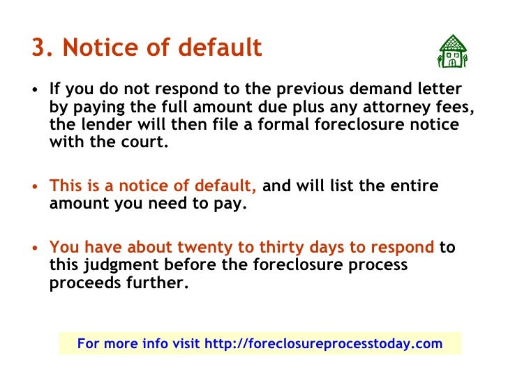 How the foreclosure process works for Notice of default letter template
