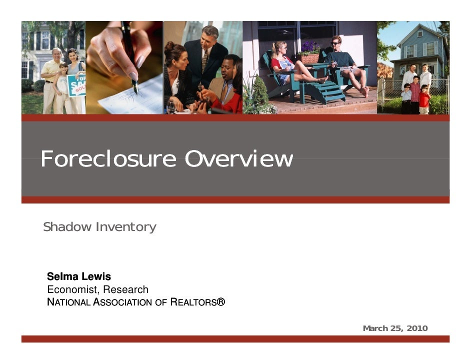 Foreclosure Overview  Shadow Inventory    Selma Lewis Paul C. Bishop, Ph.D. Managing Director, Real Estate Research  Econo...